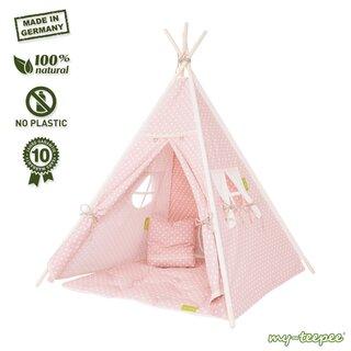 my-teepee Kinder-Spielzelt rosa Set: Zelt + Decke + Kissen